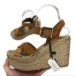 NWT Uterque Leather Wedge Espadrille Sandals Sz 36